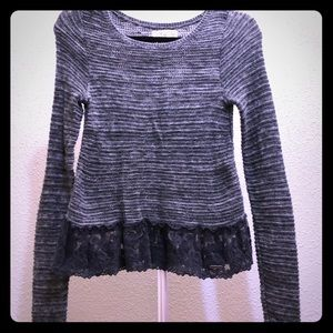 Hollister grey long sleeve lace sweater!